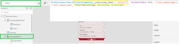 Common Data Service for Apps – Canvas App – Filter records based on