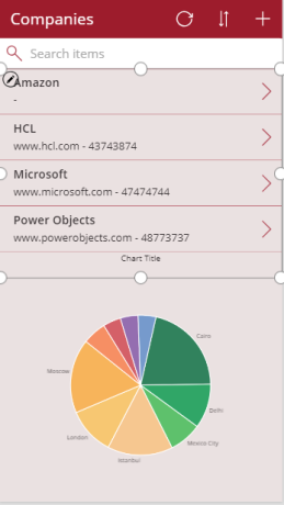 Common Data Service for Apps – Canvas App – Pie Chart (to display