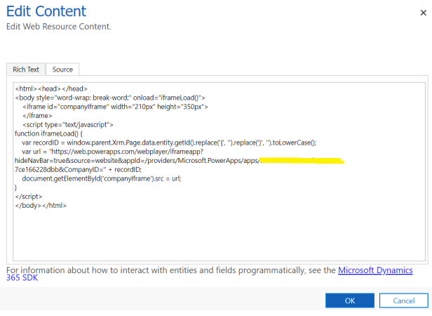 Dynamics 365 – Embed PowerApp on Entity Form as Web Resource