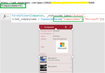 PowerApps – Canvas App – How to pass parameter in App URL