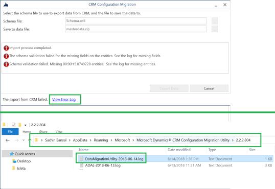 "Dynamics 365 – Configuration Migration Tool – ""The schema validation"