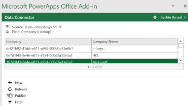 Manage CDS Entity Data – Microsoft PowerApps Office Add-In
